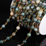 5Meter/Lot,Brass Wire Wrapped 8mm India Agates Round Bead Rosary Chain,Natural Gems Stone Chain DIY <b>Necklace</b> bracelet <b>Jewelry</b>