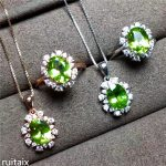 KJJEAXCMY boutique jewels 925 Pure <b>silver</b> inlay natural olivine stone set decorative pendant ring simple and generous female sty