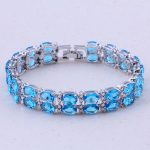 Wonderful Sky Blue Crystal Silver Color Charm Bracelets For Women Fashion <b>Jewelry</b> Party <b>Accessories</b> Free Gift Box D0003