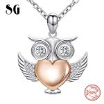 Aliexpress cute animal owl chain pendant&necklace with Cubic Zirconia 925 sterling silver diy fashion <b>jewelry</b> <b>making</b> women gifts