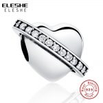 ELESHE Fit Original ELESHE Charms Bracelet 925 Sterling Silver Charms New Berloque Pave Crystal Heart Bead for <b>Jewelry</b> <b>Making</b>