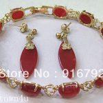 Prett Lovely Women's Wedding Wholesale Beautiful silver plate red gem bracelet earrings silver-<b>jewelry</b> silver <b>jewelry</b> boucle
