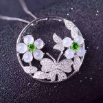 natural white jade pendant S925 <b>silver</b> Natural gemstone Pendant <b>Necklace</b> trendy Luxury flower butterfly women gift jewelry