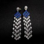 Super Long Crystal Tassel Drop Earrings Spindling Royal blue AAA CZ Stone Dangle Earrings Bride Women Party <b>Wedding</b> <b>Jewelry</b>