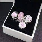 4pcs Fashion S925 Silver Pink Magnolia Flower Dangle Charms Beads <b>Jewelry</b> Set Fit Bracelet Necklaces <b>Jewelry</b> <b>Making</b> Woman Gift