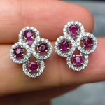 Natural red ruby stud <b>earrings</b> 925 <b>silver</b> natural gemstone <b>earrings</b> Luxury big elegant Girl gift women's party <b>Earrings</b> jewelry