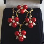 Prett Lovely Women's Wedding 8mm Coral Red South Sea Shell Pearl GP Crystal Earrings Pendant Ring A Set 5.23 5.23