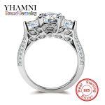 YHAMNI Genuine Pure Silver <b>Wedding</b> Rings For Women Unique Flower Shape Set Sona CZ Diamant Engagement Rings Fine <b>Jewelry</b> AR066