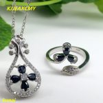 KJJEAXCMY boutique jewels 925 <b>silver</b> inlaid natural sapphire lady pendant ring 2 pieces simple gift necklace.