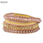 KELITCH <b>Bracelets</b> 2016 New Seed Crystal Beads Imitated Pearl Mixed <b>Silver</b> Clasp Handmade 5 Wrap Multilayers Friendship <b>Bracelets</b>