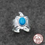 S925 sterling <b>silver</b> couple open ring personality classic fashion Indian retro style feather brass bird send lover <b>jewelry</b> gift