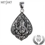 MetJakt Vintage Thai <b>Silver</b> Wealth Elephant God Pendant and 925 <b>Sterling</b> <b>Silver</b> Snake Chain Necklace Men's Lucky <b>Jewelry</b>