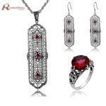 Fashion Jewellery Vintage 925 <b>Silver</b> Sterling Red Stones Crystal Jewelry Set Long Pendant <b>Earring</b> Ring Wedding Costume Jewelry