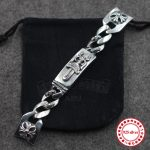 S925 sterling <b>silver</b> men's watch chain classic classic hip hop punk style cross crucifix dagger <b>bracelet</b> send a gift of lover