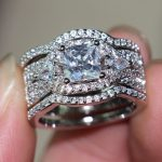 Victoria Wieckl Deluxe <b>Jewelry</b> Women <b>Handmade</b> Diamonique Cz Simulated stones 10KT White Gold Filled 3 Wedding Ring Set Size5-12