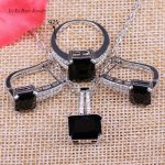 L&B 925 Logo Silver Color Square Black Crystal White Zircon <b>Jewelry</b> Sets Hoop Earrings Pendant Necklace Ring For Women&Lady