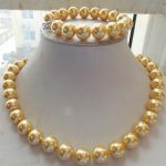 """real Women's Wedding shipping> >>>>>12mm Gold South Sea Shell Pearl Necklace Bracelet 18""""7.5""""Set"""