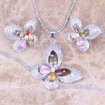 Graceful Butterfly Multicolor Multigem Silver Earrings Pendant Necklace <b>Fashion</b> <b>Jewelry</b> Sets S0729