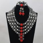 <b>Silver</b>/Red Bridal Jewelry Sets African Costume Nigerian Wedding Beads 2017 Hot Sale Balls Lace Jewlery Set Free ShippingABH025