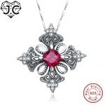 J.C Charm Ruby Spinel & Blue Topaz Princess Cut 925 Sterling <b>Silver</b> Necklace Fine <b>Jewelry</b> for Women/Girlfriend Wedding Pendant