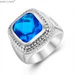 925 Sterling Silver Ring, 2017 <b>Jewelry</b> With Hugh Blue Crystal Stone for men <b>Wedding</b> anniversary lover Gift R1414