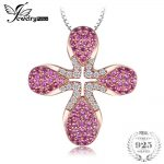 JewelryPalace Fashion 0.5ct Created Ruby Rose Gold Plated Pendant 925 Sterling <b>Silver</b> 18 Inches Include a 45mm Chain