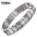 Hottime Men Jewelry Healing magnetic Bangle Balance Health <b>Bracelet</b> <b>Silver</b> Pure Titanium <b>Bracelets</b> Special Design for Male 10212