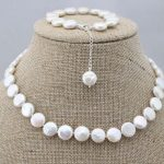 Prett Lovely Women's Wedding charm Jew.656 Fashion genuine natural coin freshwater pearl necklace&bracelet 1 set