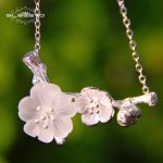 GLSEEVO Real 925 Sterling Silver Pendant Necklace For Women Crystal White Plum Flower Earrings <b>Handmade</b> Luxury <b>Jewelry</b> GN0001