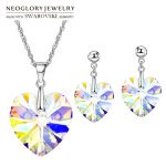 Neoglory MADE WITH SWAROVSKI ELEMENTS Crystal <b>Jewelry</b> Set Romantic Heart Design S925 Silver Plated Party Necklace & Earrings