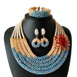 Nigerian Bead Necklace Jewelry Set 2018 New <b>Silver</b> And Sky Blue Crystal Beaded Necklace Set African Bride Jewelry Free Shipping