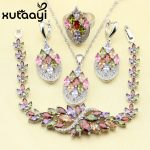 XUTAATI 4PCS 925 Sterling Silver <b>Jewelry</b> Set Flower Colorful Multicolor Stones Earrings Ring Necklace Pendant Bracelet