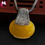 Gemstone Costume Jewelery Oval Big Royal Yellow Chalcedony Charms Pendant For Women 100% 925 Sterling <b>Silver</b> <b>Necklace</b> Female