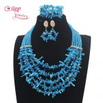 New <b>Handmade</b> Nigerian Wedding African Coral Beads <b>Jewelry</b> Set Blue Coral Beads Necklace <b>Jewelry</b> Set Free Shipping W13898