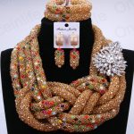 Luxury Bridal Jewelry Sets Gold Color African Beads Jewelry Set <b>Silver</b> Leave Pin Nigerian Necklaces Set For Women Free Shipping
