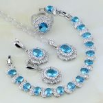 925 <b>Silver</b> Jewelry Sky Blue Cubic Zirconia White Crystal Jewelry Sets For Women Wedding Earring/Pendant/Necklace/<b>Bracelet</b>/Ring