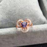 Natural blue tanzanite Ring Natural gemstone ring 925 <b>sterling</b> <b>silver</b> trendy elegant Clover Flowers women party fine <b>Jewelry</b>