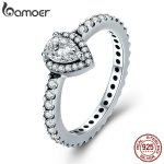 BAMOER Genuine 100% 925 Sterling Silver Radiant Teardrop Ring, Clear CZ Finger Rings for Women Wedding Engagement <b>Jewelry</b> PA7653