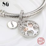 SG 925 silver charms warming family the tree of life beads fit authentic pandora bracelets <b>jewelry</b> <b>making</b> diy valentines gifts