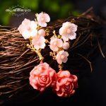 GLSEEVO Real 925 Sterling <b>Silver</b> Pink Coral Drop <b>Earrings</b> White Pearl Pink Natural Stone Shell Flower Dangle <b>Earrings</b> GE0024