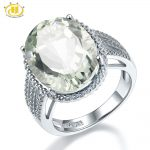 Hutang Stone <b>Jewelry</b> 8.5CT Natural Gemstone Green Amethyst Solid 925 <b>Sterling</b> <b>Silver</b> Engagement Ring Fine Fashion <b>Jewelry</b> Gift