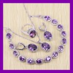 Purple crystal 925 Logo Jewelry Sets For Women <b>Silver</b> color Earrings/Ring/Necklace/Pendant/<b>Bracelets</b> For Party Wedding