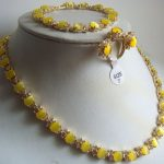 Women's Wedding fine yellow opal necklace ring bracelet earring set real silver <b>jewelry</b>