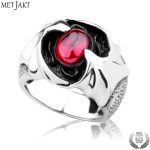 MetJakt Men's Gothic Punk Flying Bat Garnet Ring Solid 925 <b>Sterling</b> <b>Silver</b> Ring for Man Handmade <b>Jewelry</b>