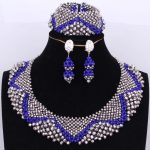 Bridal Jewelry Sets for Women Wedding African Royal Blue and <b>Silver</b> Nigerian Necklaces Sets Free Shipping Dubai Necklace Set