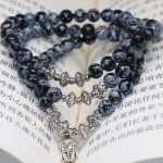 Natural stone new fashion 6mm snowflake obsidian round beads multilayer bracelets original design gifts <b>jewelry</b> <b>making</b> B2243