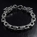 FNJ Dragon Head Bracelet 925 <b>Silver</b> Width 7mm Length 19.5cm to 22.5cm Chain Original S925 <b>Silver</b> Bracelets for Men <b>Jewelry</b>