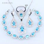 L&B Women Wedding <b>silver</b> 925 Jewelry Sets Sky Blue White Zircon <b>Bracelets</b>/Earrings/Pendant/Neklace/Ring