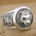 Huge Heavy Lion Knight King Cross 925 Sterling <b>Silver</b> Mens <b>Bracelet</b> Bangle 9B005