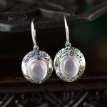 925 <b>sterling</b> <b>silver</b> <b>jewelry</b> natural crystal powder Thai <b>silver</b> earrings retro fashion furong stone drop earrings